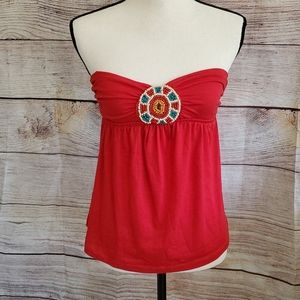 3/$15 CHARLOTTE RUSSE] Red Beaded Bandeau Top